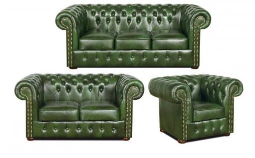 Casa Padrino Chesterfield Wohnzimmer 3er Set Grün - Luxus Echtleder Möbel