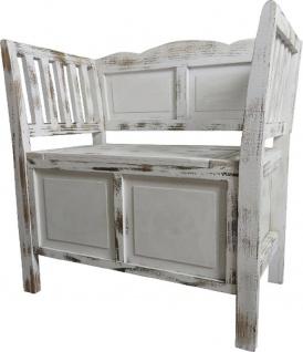 Casa Padrino Landhausstil Shabby Chic Sitzbank mit Stauraum Antik Weiß / Braun 80 x 44 x H. 80 cm - Landhausstil Möbel