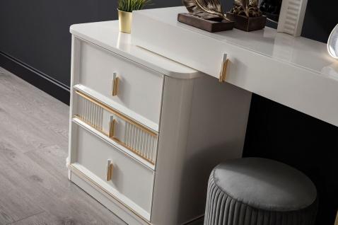Casa Padrino Luxus Schlafzimmer Schminktisch Set Weiß / Gold / Grau - 1 Schminkkommode mit Spiegel & 1 Hocker - Luxus Schlafzimmer Möbel - Vorschau 4