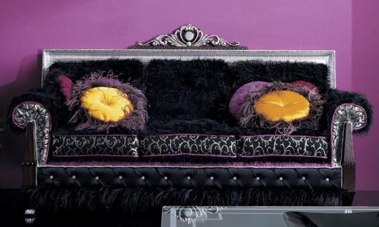 Casa Padrino Luxus Barock Sofa Dunkelbraun / Schwarz / Silber / Lila 215 x 80 x H. 120 cm - Prunkvolles Wohnzimmer Sofa - Erstklassische Qualität - Made in Italy