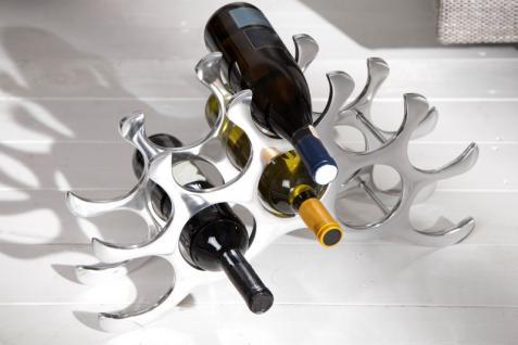 Designer Weinregal für 10 Flaschen aus poliertem Aluminium Höhe: 28 cm, Breite: 48 cm, Tiefe: 11cm - Flaschenhalter, Flaschenablage - Vorschau 1