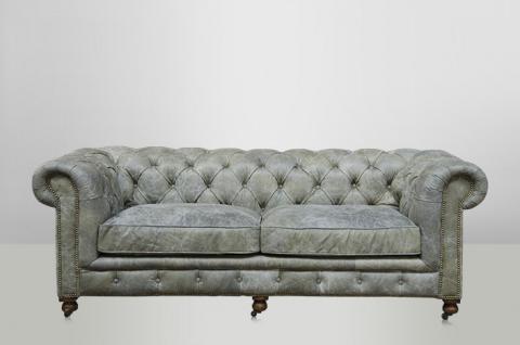 Chesterfield Luxus Echt Leder Sofa 2.5 Seater Vintage Leder von Casa Padrino Galata Verde