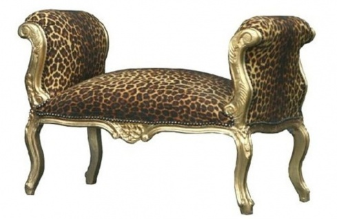 Casa Padrino Barock Schemel Hocker Leopard / Gold - Sitzbank
