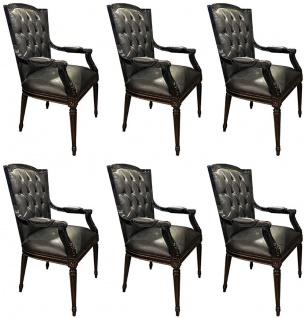 Casa Padrino Luxus Barock Esszimmerstuhl Set Schwarz - 6 Echtleder Küchen Stühle mit Armlehnen - Barock Esszimmer Möbel - Edel & Prunkvoll