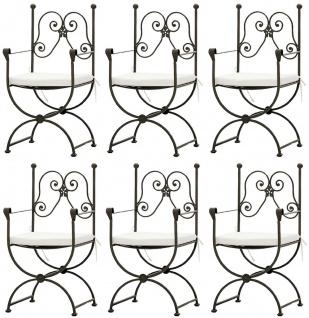 Casa Padrino Luxus Jugendstil Gartenstuhl Set mit Armlehnen und Sitzkissen Braun / Weiß 60 x 44 x H. 97 cm - Handgeschmiedete Esszimmer Stühle - Esszimmer Garten Terrassen Möbel