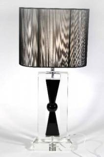 Elegante Kristall Hockerleuchte mit schwarzem ovalen Fadenschirm Leuchte Lampe