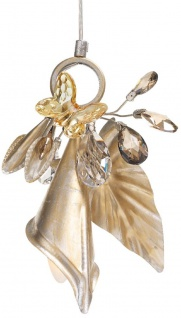 Casa Padrino Luxus Kronleuchter mit Schmetterling Silber / Gold / Bernsteinfarben 20 x 10 x H. 30 cm - Moderner Glas Kronleuchter mit Swarovski Kristallglas - Luxus Qualität