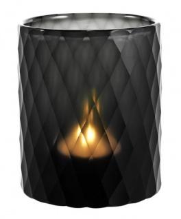 Casa Padrino Glas Teelichthalter Schwarz Ø 13 x H. 16 cm - Luxus Windlicht