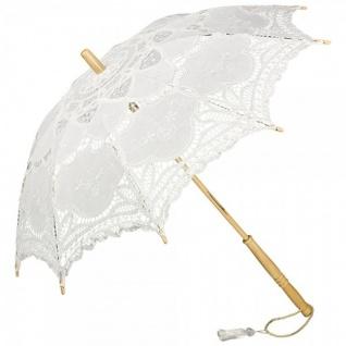 Romantischer Brautschirm Hochzeitsschirm mit weißer Baumwollspitze, Weiß - Hochzeitsschirm - Dekoschirm