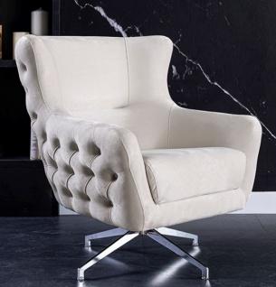 Casa Padrino Luxus Art Deco Chesterfield Drehsessel Cremefarben / Silber 90 x 90 x H. 100 cm - Wohnzimmer Sessel - Wohnzimmer Möbel