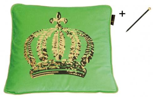 Harald Glööckler Designer Zierkissen 50 x 50 cm Krone mit Pailletten Grün / Gold + Casa Padrino Luxus Barock Bleistift mit Kronendesign