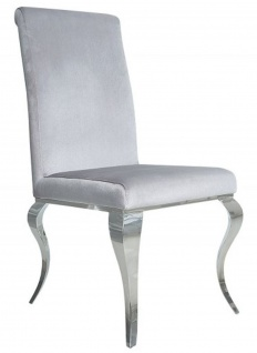 Casa Padrino Esszimmer Stuhl Silbergrau / Silber - Designer Stuhl - Modern Barock