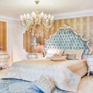 Casa Padrino Luxus Barock Doppelbett Grün / Creme / Gold 230 x 200 x H. 220 cm - Edles Massivholz Bett mit Kopfteil - Prunkvolle Schlafzimmer Möbel im Barockstil