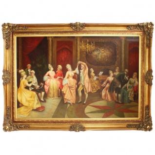 Riesiges Handgemaltes Barock Öl Gemälde Tanz Gold Prunk Rahmen 225 x 165 x 10 cm - Massives Material
