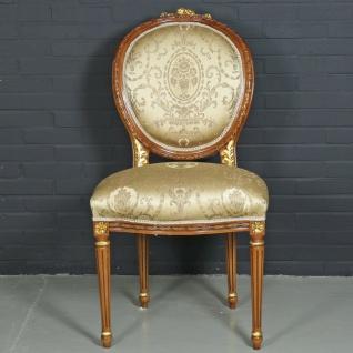Casa Padrino Barock Esszimmerstuhl Ludwig XV Gold Muster / Hellbraun 55 x 50 x H. 100 cm - Antikstil Möbel