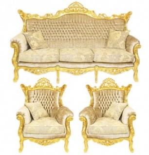 Casa Padrino Barock Wohnzimmer Set Master Creme Samtstoff / Gold - 3er Sofa + 2 Sessel - Limited Edition!