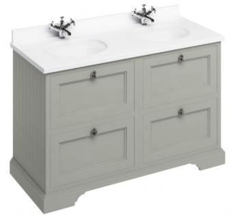 Casa Padrino Doppel Waschschrank mit Marmorplatte und 4 Schubladen - Luxus Waschtisch