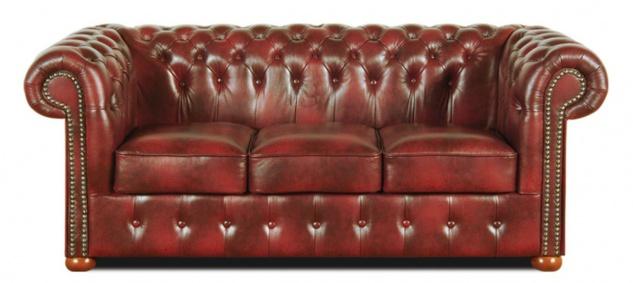 Casa Padrino Chesterfield Echtleder 3er Sofa Weinrot 200 x 90 x H. 78 cm - Luxus Kollektion - Vorschau