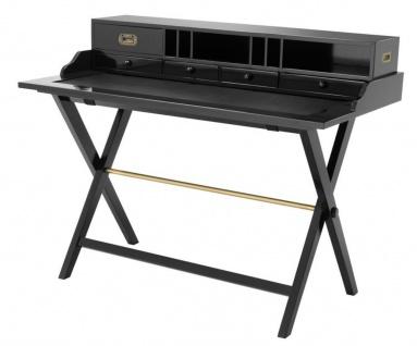 Casa Padrino Reiseschreibtisch mit 5 Schubladen schwarz - Luxus Schreibtisch