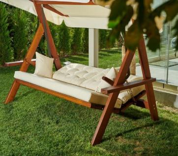 Casa Padrino Luxus Hollywood Schaukel Cremefarben / Braun - Moderne Wetterfeste Garten Schaukel mit Sonnendach - Garten Terrassen Hotel Möbel - Luxus Möbel - Vorschau 3