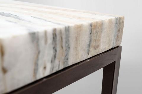 Casa Padrino Art Deco Beistelltisch Onyx / Metall 60 x 40 cm- Jugendstil Tisch - Möbel Konsole - Vorschau 2