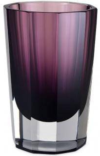 Casa Padrino Luxus Deko Glas Vase Lila Ø 12 x H. 18 cm - Elegante handgefertigte 8-eckige Blumenvase - Deko Accessoires