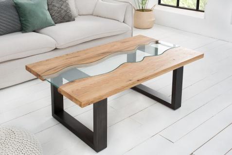 Casa Padrino Designer Massivholz Wildeiche Couchtisch mit Sicherheitsglas Natur 115cm x H. 45cm - Salon Wohnzimmer Tisch - Vorschau 2