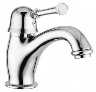 Luxus Waschtischarmatur mit Swarovski Kristallglas Silber H. 14 cm - Luxus Einhand Waschtischbatterie