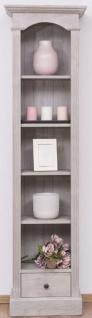 Casa Padrino Landhausstil Regalschrank Hellgrau 50 x 33 x H. 190 cm - Massivholz Schrank mit 4 Regalen und Schublade - Landhausstil Möbel