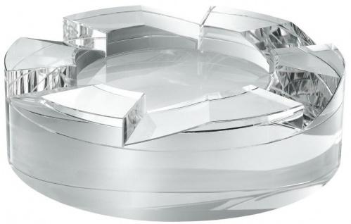 Casa Padrino Designer Kristallglas Schale Ø 24 x H. 7 cm - Runde Deko Schale - Schreibtisch Deko - Luxus Qualität