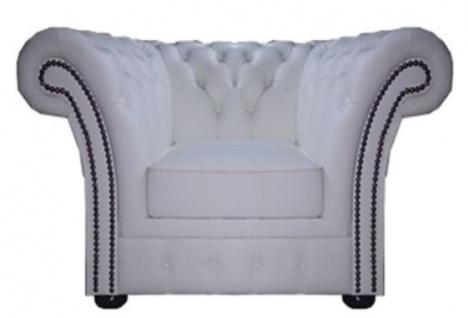 Casa Padrino Chesterfield Echtleder Sessel Weiß 110 x 90 x H. 80 cm - Luxus Kollektion
