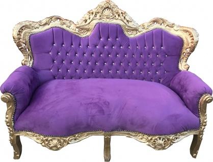 "Casa Padrino Barock 2er Sofa "" Master"" mit Bling Bling Glitzersteinen Lila / Gold 160 x 70 x H. 128 cm - Barock Wohnzimmer Möbel"