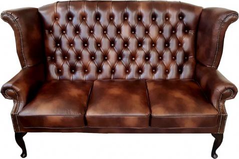 Casa Padrino Luxus Echtleder 3er Sofa Dunkelbraun Vintage Antik Look 183 x 90 x H. 105 cm - Chesterfield Sofa
