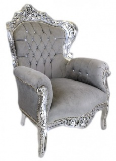Casa Padrino Barock Sessel King Grau / Silber mit Bling Bling Glitzersteinen - Luxus Barock Sessel