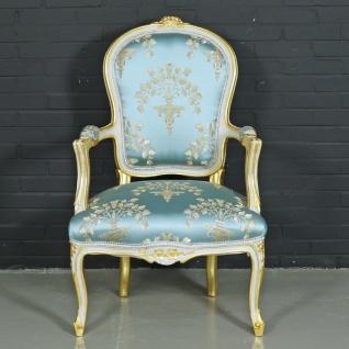 "Casa Padrino Barock Salon Stuhl "" Medaillon"" Mod1 mit Armlehnen Helltürkis / Gold - Antikstil Stuhl"