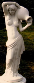 Casa Padrino Jugendstil Wasserspeier Skulptur Frau mit Krug 44 x 33 x H. 120 cm - Gartendeko Figur - Special!