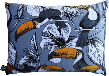 Casa Padrino Luxus Kissen Toronto Parrots Grau / Mehrfarbig 35 x 55 cm - Feinster Samtstoff - Luxus Qualität
