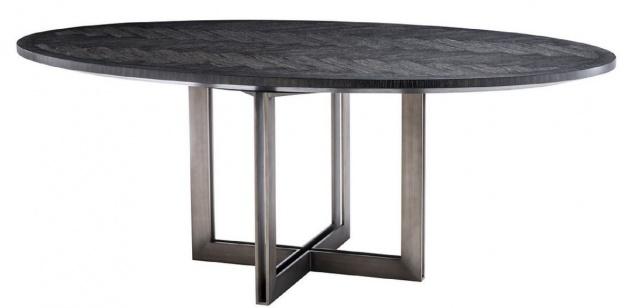 Casa Padrino Luxus Esstisch Schwarz / Bronze 200 x 120 x H. 76 cm - Ovaler Küchentisch - Luxus Esszimmer Möbel