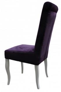 Casa Padrino Esszimmer Stuhl Lila/ Weiß ohne Armlehnen - Barock Möbel - Vorschau 2