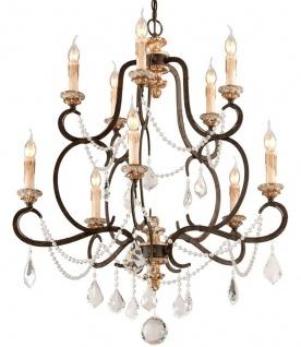 Casa Padrino Barock Kronleuchter Bronze Ø 82 x H. 98 cm - Prunkvoller Schmiedeeisen Kronleuchter mit edlen Kristallglas Behängen