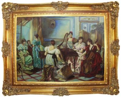 Casa Padrino Barock Ölgemälde Damen Musizieren Mehrfarbig / Gold 160 x 10 x H. 130 cm - Handgemaltes Gemälde mit prunkvollem Rahmen im Barockstil - Barock Deko Accessoires