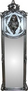 Casa Padrino Luxus Barock Wandspiegel Madonna Silber 175 x 55 cm - Massiv und Schwer - Antik Stil Spiegel