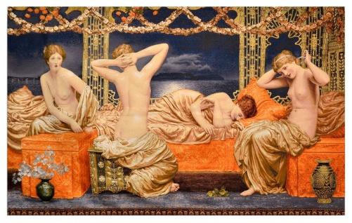 Casa Padrino Art Deco Wandteppich Damen Mehrfarbig 220 x 130 cm - Art Deco Möbel