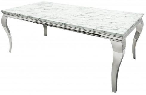 Casa Padrino Designer Esszimmer Set Schwarz / Silber / Weiss - Esstisch 200 cm + 6 Stühle - Modern Barock - Vorschau 3