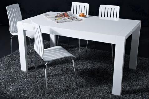 Designer Stuhl aus Holz und verchromtem Stahl, Weiß, Esszimmerstuhl, moderner Wohnzimmerstuhl - Vorschau 5
