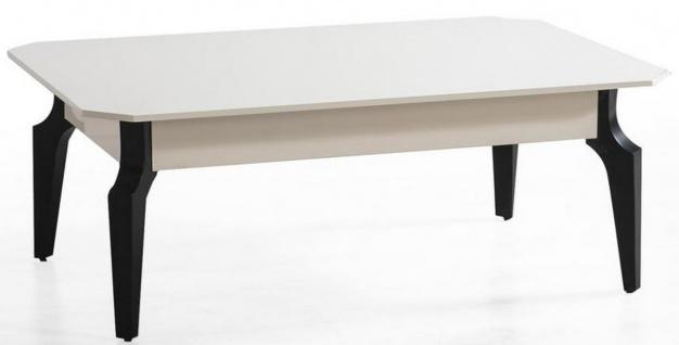 Casa Padrino Luxus Art Deco Couchtisch Weiß / Schwarz 110 x 70 x H. 42 cm - Edler Massivholz Wohnzimmertisch - Wohnzimmer Möbel
