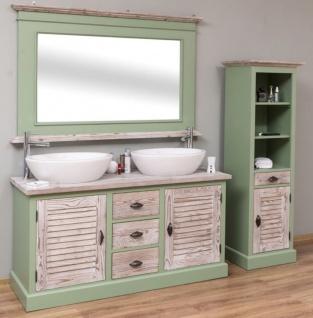 Casa Padrino Landhausstil Badezimmer Set Grün / Naturfarben - 1 Doppelwaschtisch & 1 Wandspiegel & 1 Regalschrank - Massivholz Badezimmer Möbel im Landhausstil