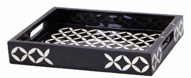 Casa Padrino Luxus Serviertablett Schwarz / Weiß 36 x 29 x H. 6 cm - Luxus Polyresin Tablett mit 2 Tragegriffen