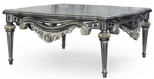 Casa Padrino Luxus Barock Couchtisch Silber / Gold 115 x 115 x H. 53 cm - Prunkvoller Massivholz Wohnzimmertisch mit edlen Verzierungen - Barock Wohnzimmer Möbel