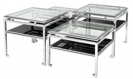 Casa Padrino Luxus Couchtisch 4er Set Silber - Designer Wohnzimmermöbel
